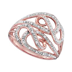 0.10 CTW Diamond Woven Strand Ring 10KT Rose Gold - REF-18F2N
