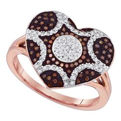 0.33 CTW Red Color Diamond Starburst Heart Cluster Ring 10KT Rose Gold - REF-44W9K