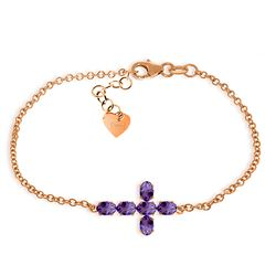 Genuine 1.70 ctw Amethyst Bracelet Jewelry 14KT Rose Gold - REF-59H8X