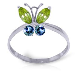 Genuine 0.60 ctw Peridot & Blue Topaz Ring Jewelry 14KT White Gold - REF-28X9M