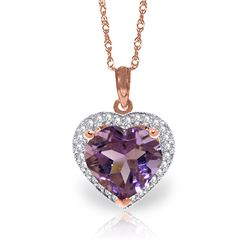 Genuine 3.24 ctw Amethyst & Diamond Necklace Jewelry 14KT Rose Gold - REF-59W3Y