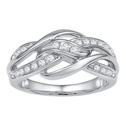 0.25 CTW Diamond Woven Knot Strand Ring 10KT White Gold - REF-37Y5X