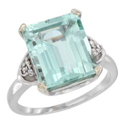 Natural 5.44 ctw aquamarine & Diamond Engagement Ring 14K White Gold - REF-77F9N