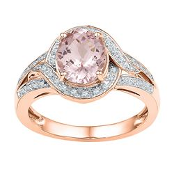 1.63 CTW Oval Natural Morganite Solitaire Diamond Ring 10KT Rose Gold - REF-67W4K