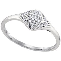0.10 CTW Diamond Cluster Fashion Ring 10KT White Gold - REF-12F8N