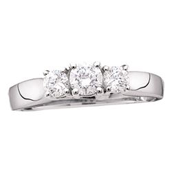 0.83 CTW Diamond 3-stone Bridal Engagement Ring 14KT White Gold - REF-82W4K