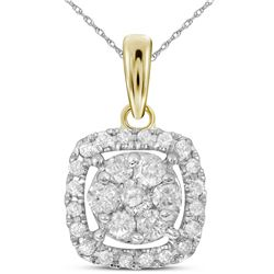 0.25 CTW Diamond Square Cluster Pendant 14KT Yellow Gold - REF-25F4N
