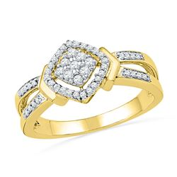 0.25 CTW Diamond Square Cluster Ring 10KT Yellow Gold - REF-30N2F