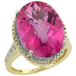 Natural 13.6 ctw Pink-topaz & Diamond Engagement Ring 10K Yellow Gold - REF-59F2N
