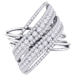 2.48 CTW Diamond Crossover Open Strand Cocktail Ring 10KT White Gold - REF-206M9H