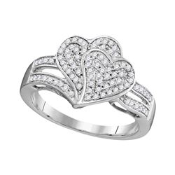0.33 CTW Diamond Double Heart Cluster Ring 10KT White Gold - REF-26M9H