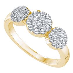 0.50 CTW Diamond Triple Flower Cluster Ring 14KT Yellow Gold - REF-49M5H