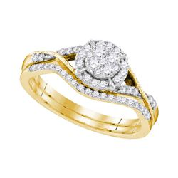 0.42 CTW Diamond Bridal Wedding Engagement Ring 10KT Yellow Gold - REF-41X3Y