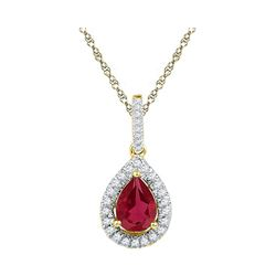 1.87 CTW Pear Created Ruby Solitaire Diamond Pendant 10KT Yellow Gold - REF-12K2W