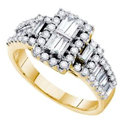 1 CTW Diamond Rectangle Cluster Ring 14KT Yellow Gold - REF-112M5H