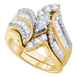 1.5 CTW Marquise Diamond Bridal Engagement Ring 14KT Yellow Gold - REF-239N8F