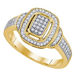 0.25 CTW Diamond Rectangle Cluster Ring 10KT Yellow Gold - REF-30K2W