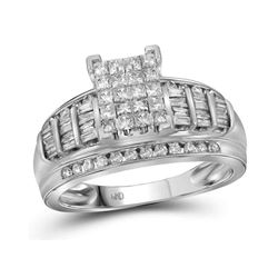 1.01 CTW Princess Diamond Cluster Bridal Engagement Ring 10KT White Gold - REF-59X9Y