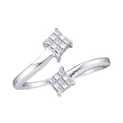 0.20 CTW Princess Diamond Cluster Bypass Bisected Ring 14KT White Gold - REF-18N2F