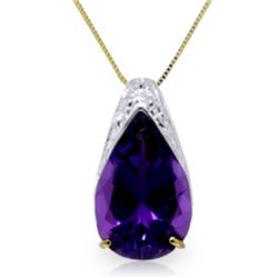 Genuine 5 ctw Amethyst Necklace Jewelry 14KT Yellow Gold - REF-27T2A