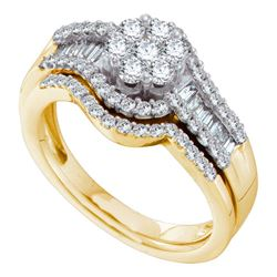 1 CTW Diamond Cluster Bridal Engagement Ring 14KT Yellow Gold - REF-119X9Y