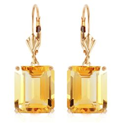 Genuine 13 ctw Citrine Earrings Jewelry 14KT Yellow Gold - REF-54X2M