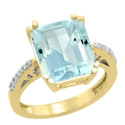 Natural 5.48 ctw Aquamarine & Diamond Engagement Ring 14K Yellow Gold - REF-83Y8X