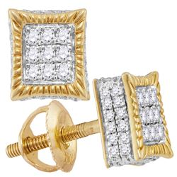 0.35 CTW Diamond Square Rope Cluster Earrings 10KT Yellow Gold - REF-30W2K