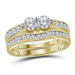 0.99 CTW Diamond 2-stone Bridal Wedding Engagement Ring 14KT Yellow Gold - REF-112F5N