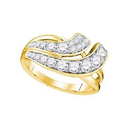 1 CTW Diamond Double Row Crossover Ring 14KT Yellow Gold - REF-104F9N