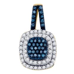 0.50 CTW Blue Color Diamond Square Cluster Pendant 10KT Yellow Gold - REF-28F4N