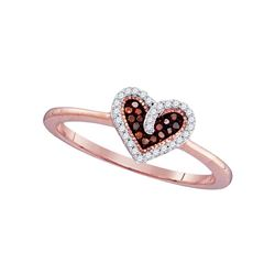 0.10 CTW Red Color Diamond Small Heart Ring 10KT Rose Gold - REF-14F9N