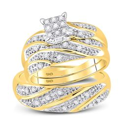 0.25 CTW His & Hers Diamond Cluster Matching Bridal Ring 10KT Yellow Gold - REF-30Y2X