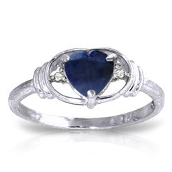 Genuine 1.01 ctw Sapphire & Diamond Ring Jewelry 14KT White Gold - REF-46M3T