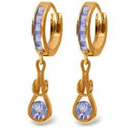 Genuine 2.25 ctw Tanzanite Earrings Jewelry 14KT Rose Gold - REF-89M2T
