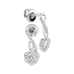 0.15 CTW Diamond Heart Screwback Earrings 10KT White Gold - REF-18F2N