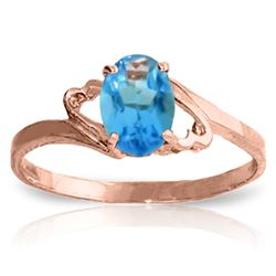 Genuine 0.95 ctw Blue Topaz Ring Jewelry 14KT Rose Gold - REF-20F5Z