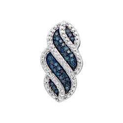 0.10 CTW Blue Color Diamond Vertical Pendant 10KT White Gold - REF-14W9K
