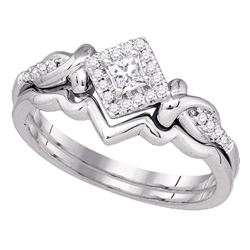 0.25 CTW Princess Diamond Bridal Engagement Ring 10KT White Gold - REF-34K4W