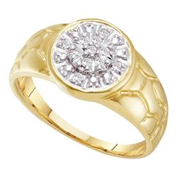 0.12 CTW Mens Diamond Cluster Nugget Ring 10KT Yellow Gold - REF-18M2H