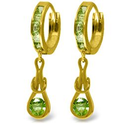 Genuine 2.3 ctw Peridot Earrings Jewelry 14KT Yellow Gold - REF-74A6K