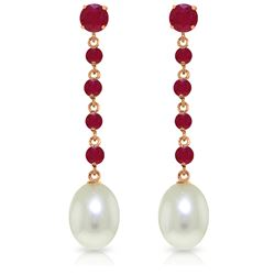 Genuine 10 ctw Ruby & Pearl Earrings Jewelry 14KT Rose Gold - REF-37Y8F