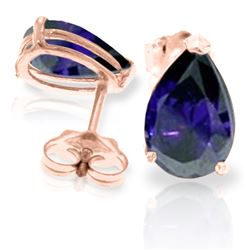 Genuine 3 ctw Sapphire Earrings Jewelry 14KT Rose Gold - REF-29F2Z