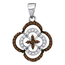 0.25 CTW Cognac-brown Color Diamond Cluster Pendant 10KT White Gold - REF-13X4Y