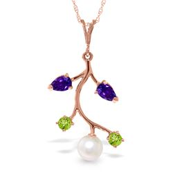 Genuine 2.7 ctw Multi-gemstone Necklace Jewelry 14KT Rose Gold - REF-29Z7N