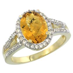 Natural 2.72 ctw whisky-quartz & Diamond Engagement Ring 10K Yellow Gold - REF-44H2W