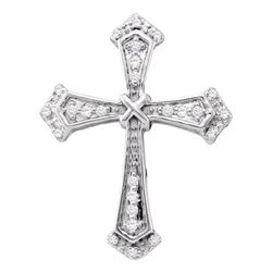 0.10 CTW Diamond Cross Pendant 10KT White Gold - REF-10Y5X