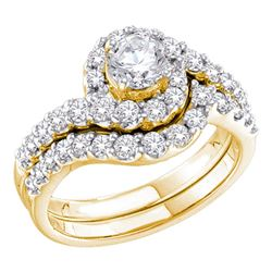 1.45 CTW Diamond Bridal Wedding Engagement Ring 14KT Yellow Gold - REF-217N4F