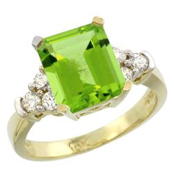 Natural 2.86 ctw peridot & Diamond Engagement Ring 14K Yellow Gold - REF-65K3R
