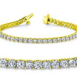 Natural 5.01ct VS-SI Diamond Tennis Bracelet 18K Yellow Gold - REF-452F6R